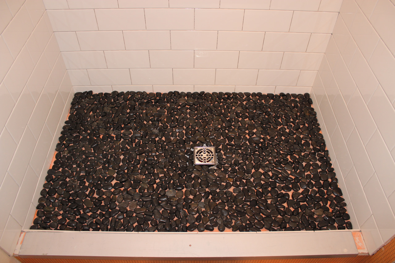 Subway Shower With River Rock Floor Tile Art Center
