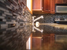 Glass tile kitchen backsplash in Northern Colorado