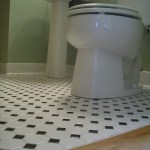 Octagonal mosaic tile floors with black dot