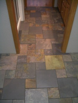 Slate Bathroom Floor in Fort Collins, CO