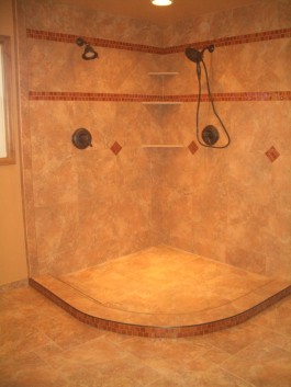 Porcelain and glass master bathroom in Fort Collins