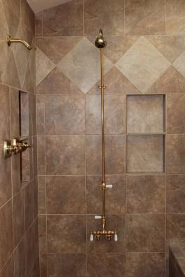 Porcelain tile master bathroom shower in Fort Collins, Colorado