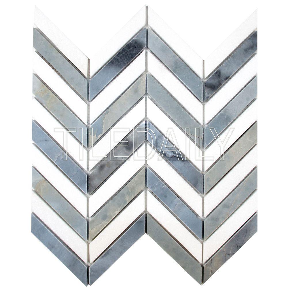 white and blue chevron marble tile tiledaily