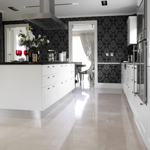 wall and floor tiles to make a room look bigger