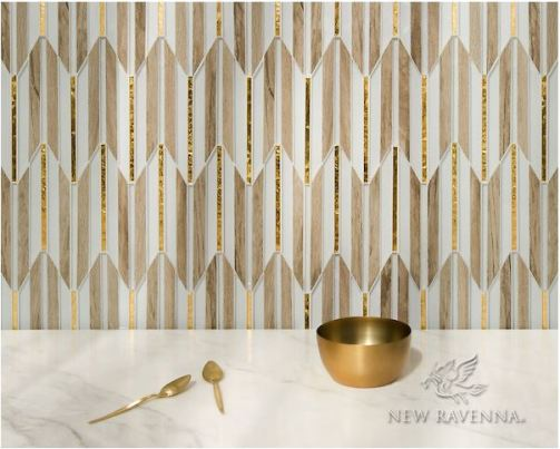 New Ravenna's Fletcher, a waterjet mosaic, is shown here in Ironwood ceramic, Gold glass, and Island Fog glass.