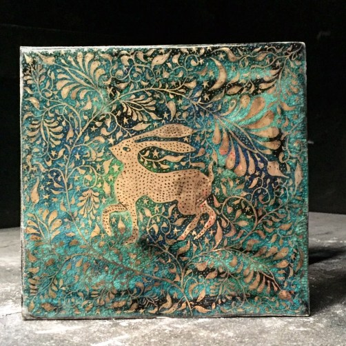 Tile artisan Boris Aldridge | The Hare -Turquoise and gold lustreware tile