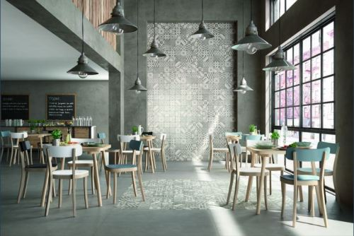 Marazzi's Block in Silver (on floor) and White/Silver/Black Deco (on wall and floor)