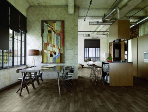 Marazzi's Urban District STX in Tobacco (on floor) and HEX in Galleria (on wall).