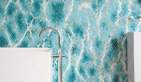 Waterweb, a hand-cut glass mosaic shown in Tanzanite, Chrysocolla, Alexandrite, Feldspar, Aquamarine, Absolute White, Opal, Moonstone, Serpentine, Turquoise, and Amazonite Sea Glass™.