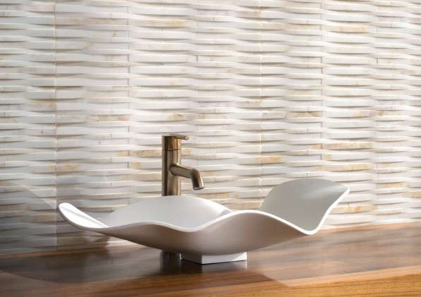 Cane Weave, a hand-cut stone mosaic, shown in honed Cloud Nine.