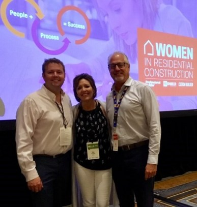 (left to right) Adam Grubb (SGC Horizon), Sue Dissinger (Dal-Tile Corporation), and Tony Mancini (SGC Horizon) at WIRC 2019 conference.
