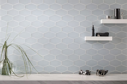 Glass Essentials elongated hexagons in Oceania with matte finish