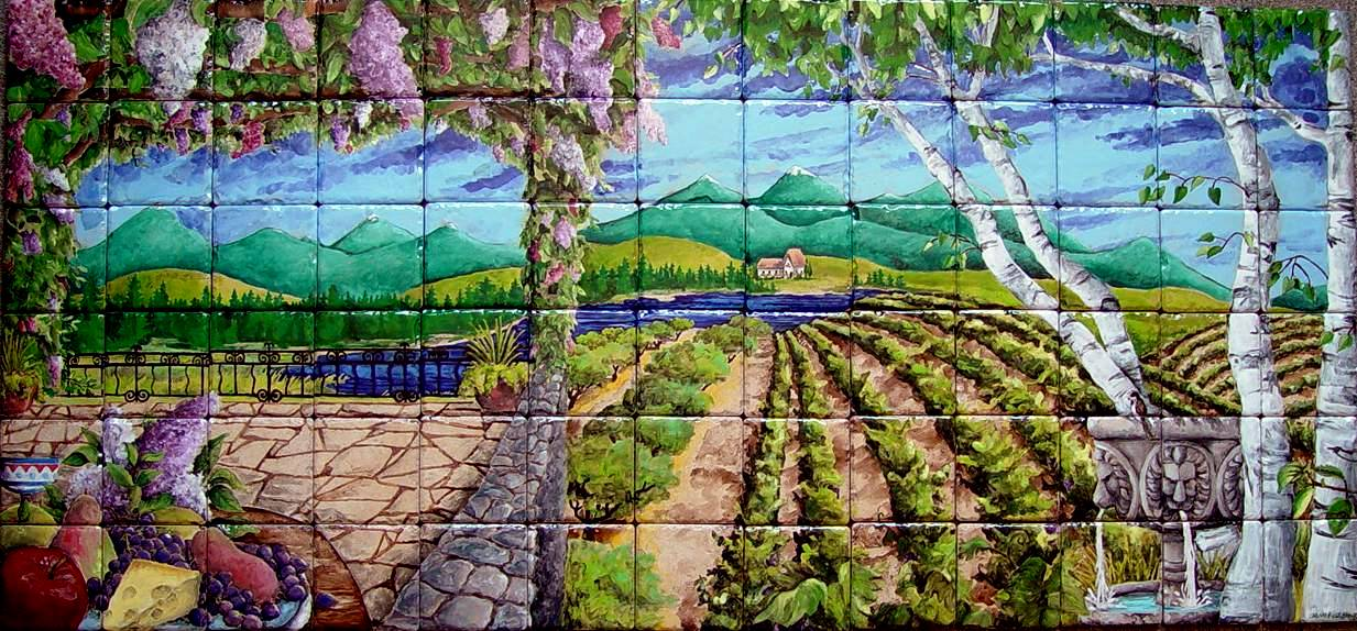 Lilacs With Vineyard Tile Mural