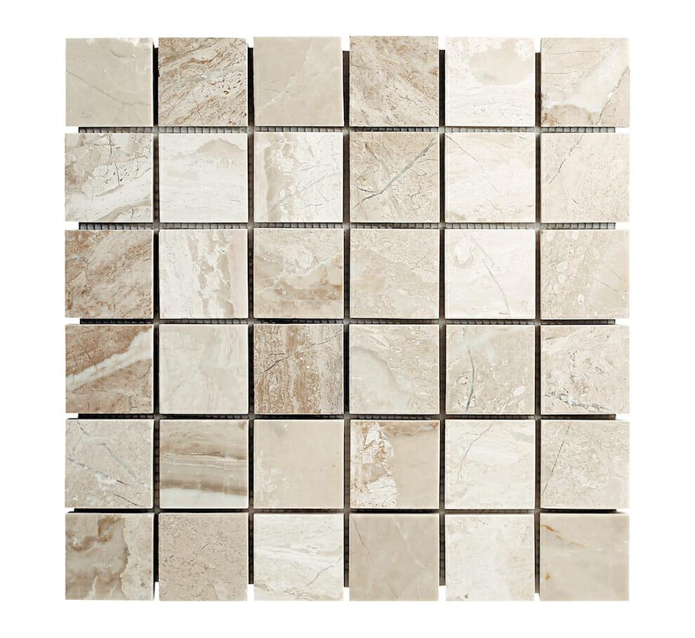 diana royal beige marble squares mosaic