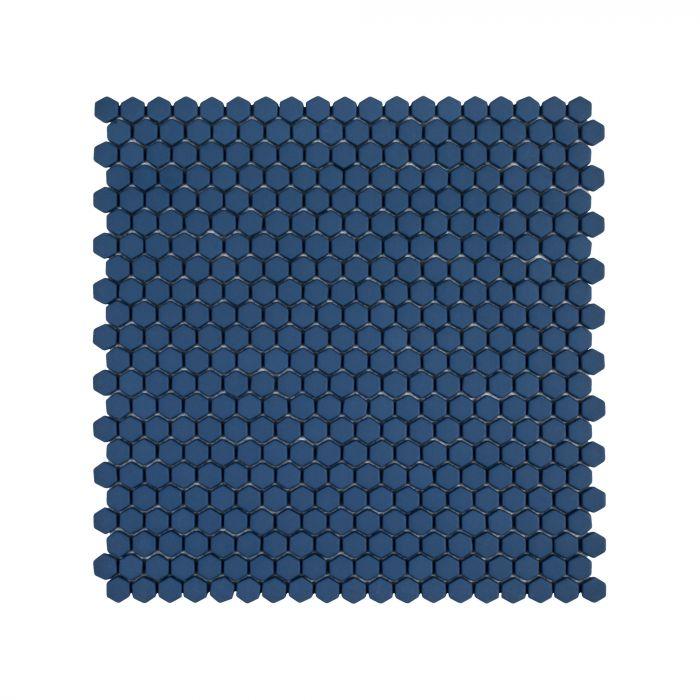 press 5 8 hexagon mosaic navy matte