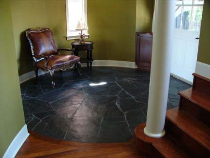 Jet Black Natural Slate installed in an entryway floor