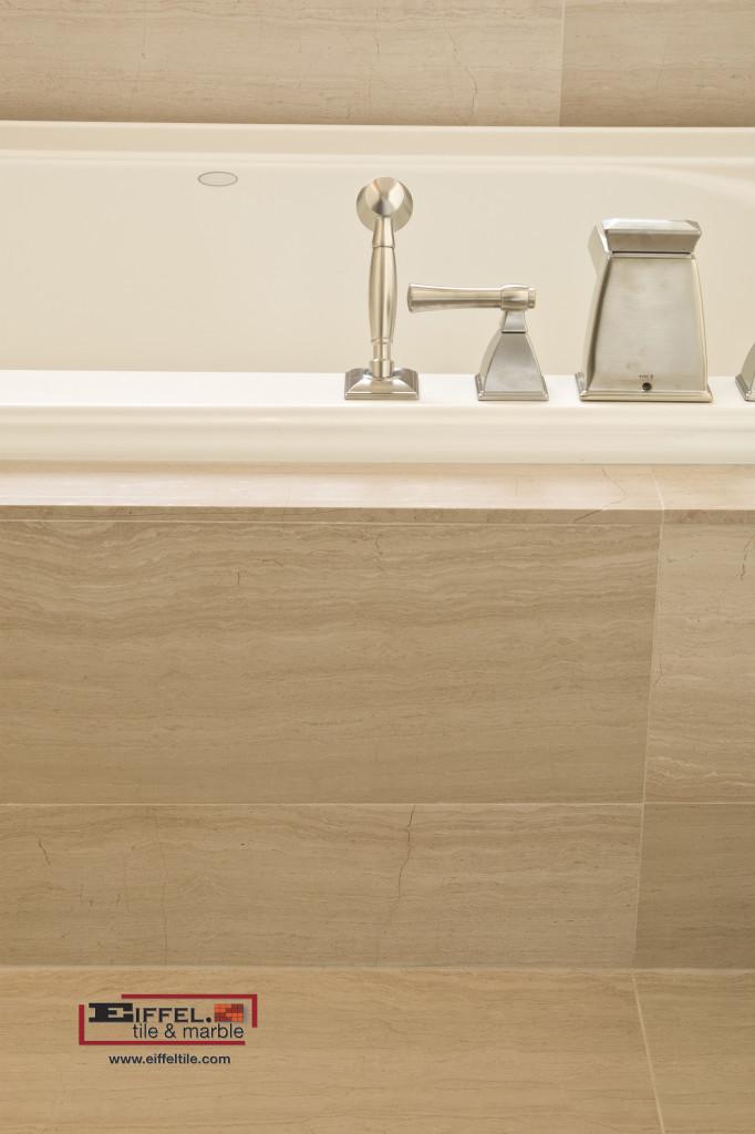 Wooden White Marble tile installed around a bathtub