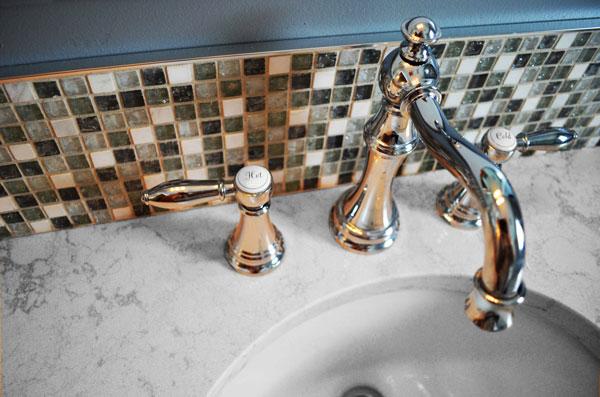 Dream Aries Mini Squares installed as a bathroom backsplash