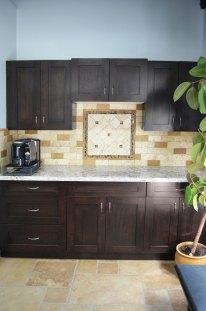 Kitchen back splash installed in the Stone Source - Tile Source International Showroom