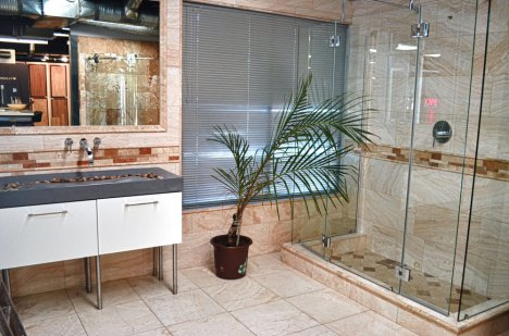 A shower installed in the Stone Source - Tile Source International Showroom