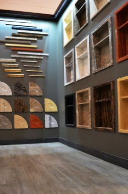 Niches, corner shelves, mouldings and trim showcased in the Stone Source - Tile Source International Show room