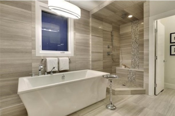 Wooden White 12 x 24 tile installed on the floor, wall and shower