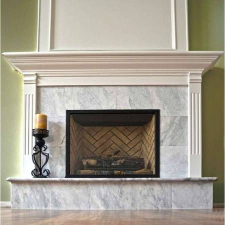 Bianco Cobalt marble installed on a fireplace