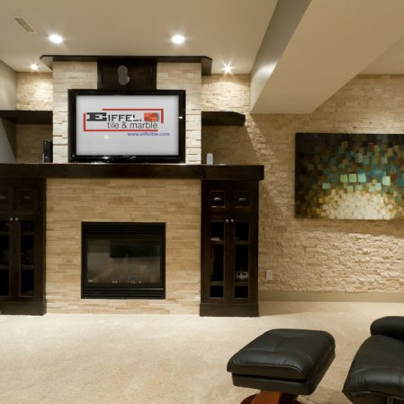 Ivory Splitface and Cubic Ledgestone installed as a feature wall. Install by Eiffel Tile.