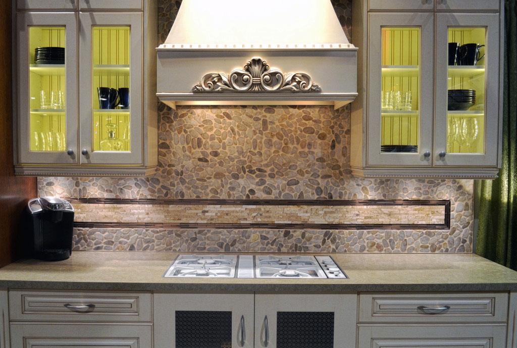 Backsplash created with Kootenay Pebbles and Copper Thin Strip Mosaics