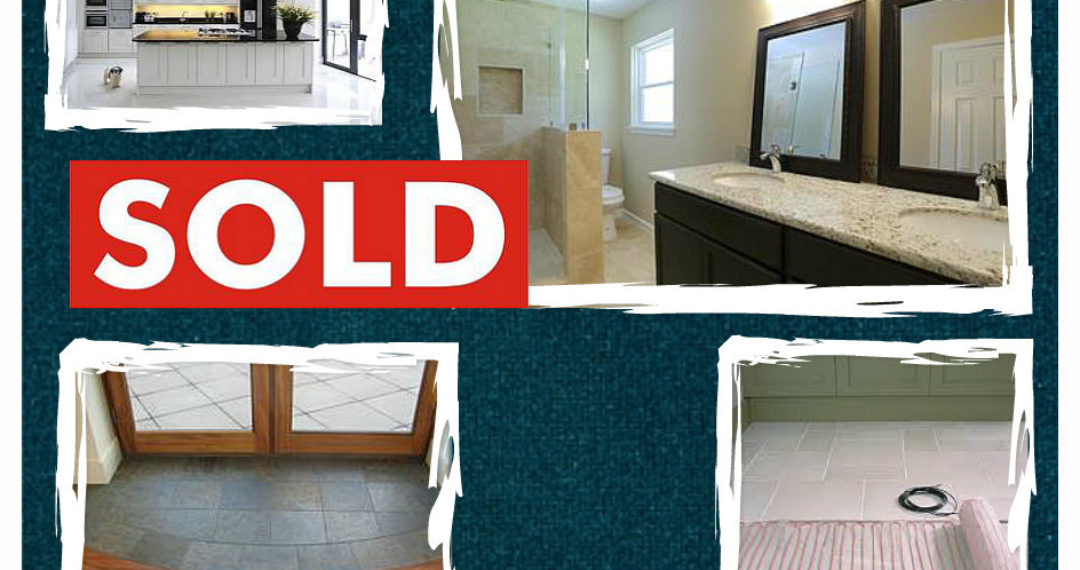 "April 2015 Slice of Style - Renovating for return. Pictures of kitchen, bathroom, entrance, in-floor heat and a ""Sold"" sign"