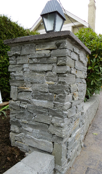 Driftwood Ledgestone installed on an exterior pillar