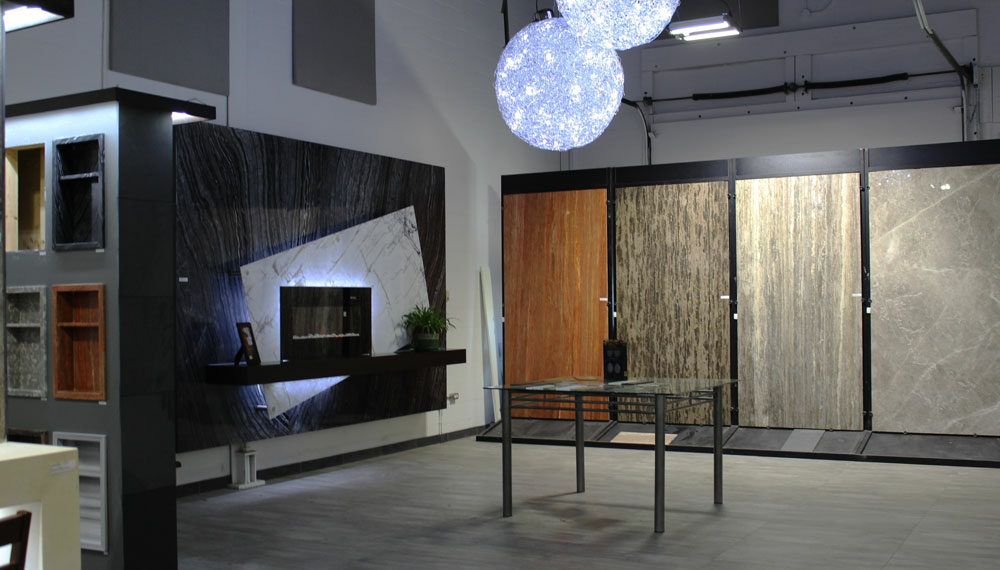 Bolder Panel showroom with upgraded lighting and acoustic panels