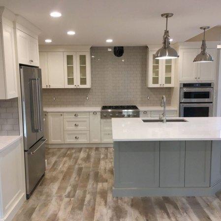 Soho Warm Grey 3x6 installed as a kitchen backsplash