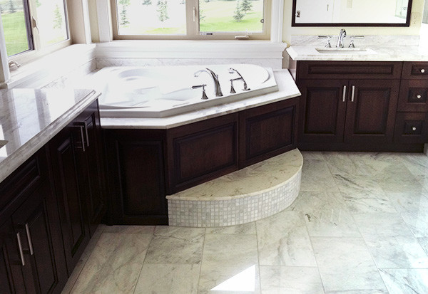 Bianco Cobalt Marble installed in a bathroom