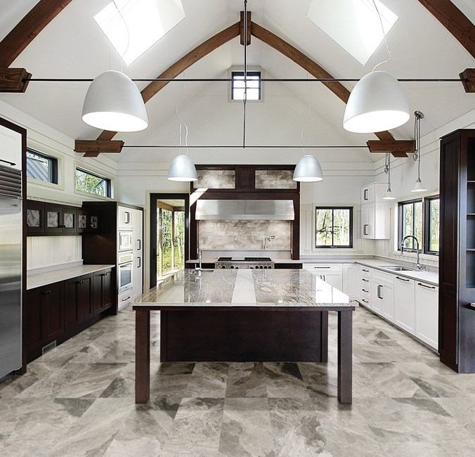 Phantasie Gray Marble installed in a kitchen