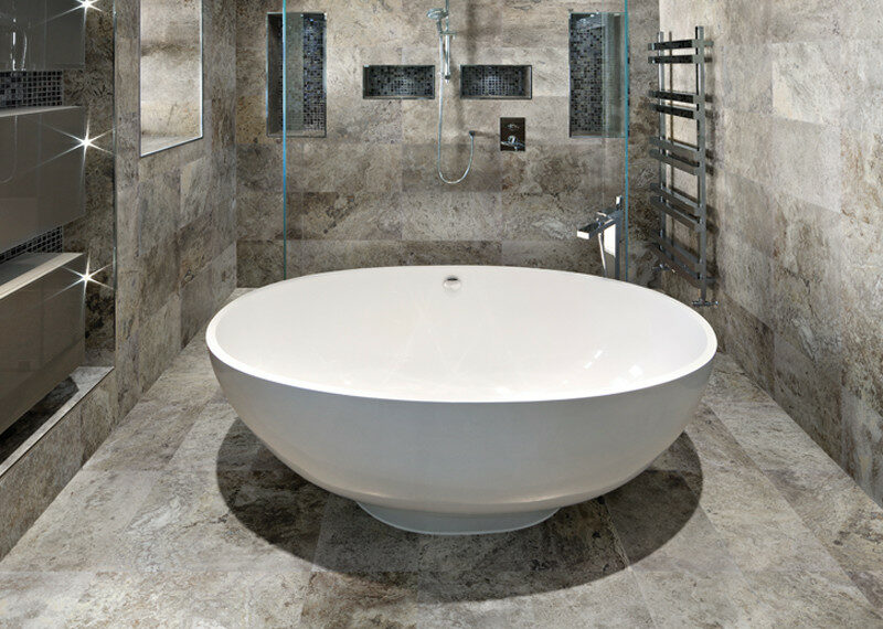 Silver Travertine installed in a bathroom