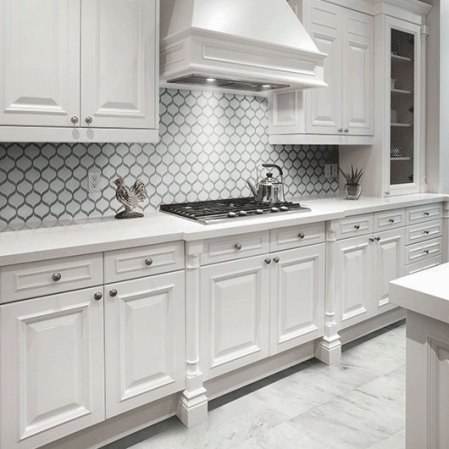 Element Ice Arabesque Glass Tile Mosaic installed in a kitchen