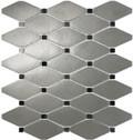 Satin Metal Pewter Clipped Diamond Mosaic