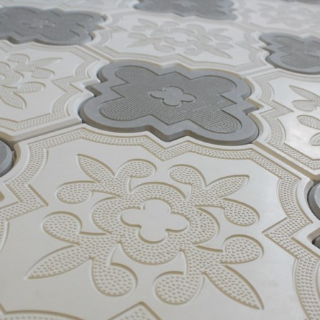 Aster White 10x10 and Aster Grey 8x8 Cement Tiles in a pattern
