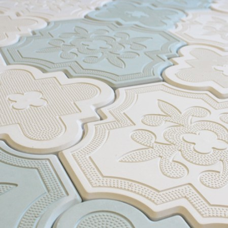 Aster White and Blue Cement Tiles in a random pattern