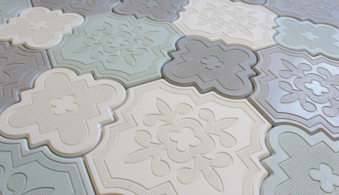 Aster White, Grey and Blue cement tiles mixed together randomly