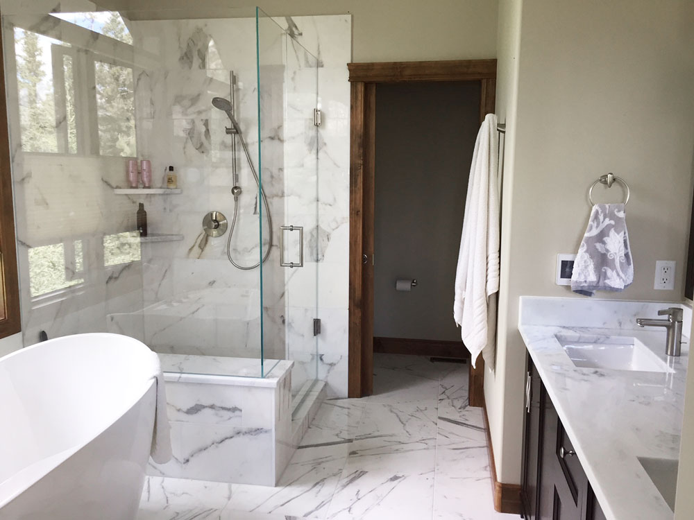Calacutta Gold Marble installed in a bathroom