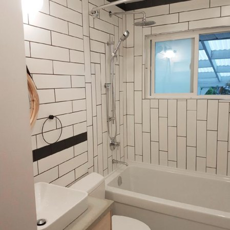 Soho White 4x16 Matte Subway Tile installed in a bathroom