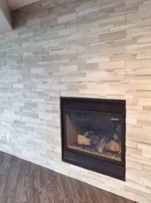 Wooden White Marble Ledgestone fireplace install