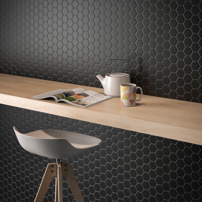 Color Collection Black Matte Hexagon Install