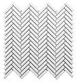 Color Collection White Bright Herringbone Glossy