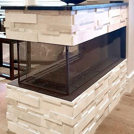Marble ledgestone Impero Reale Cubic Fireplace Installation