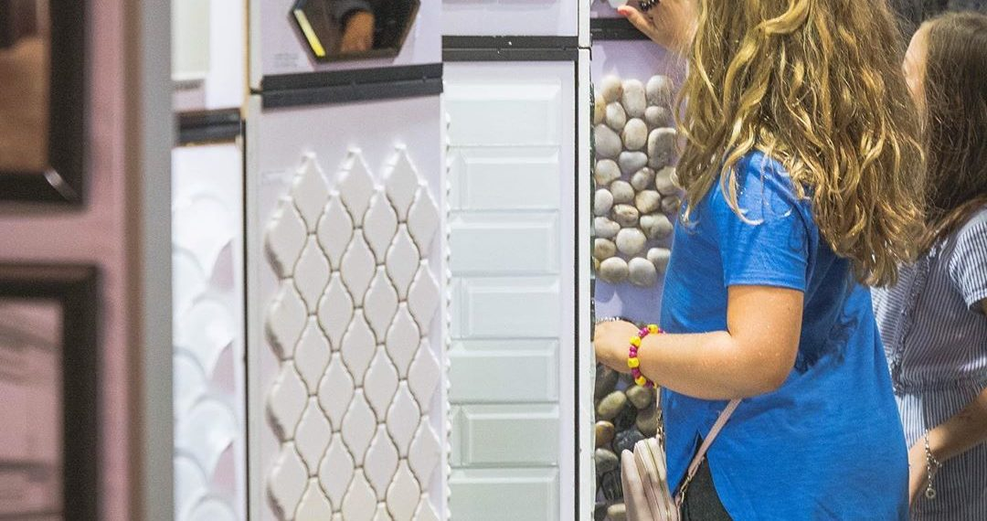 Tile and Stone Source Homeshow Booth with Kids Browsing