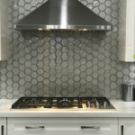 Swiss Glass Platinum Mosaic installed in a kitchen, front view
