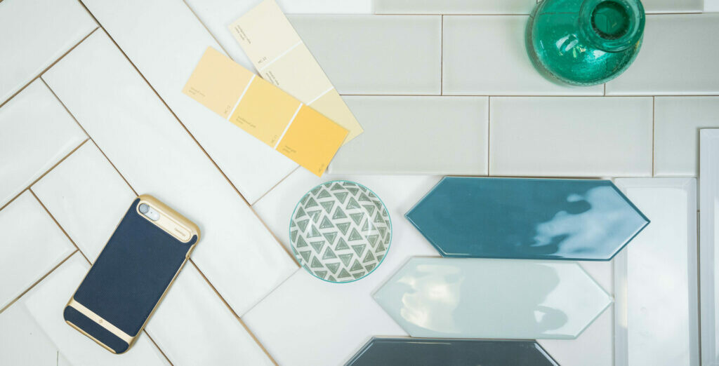 Subway and picket tile flat lay by Tile and Stone Source